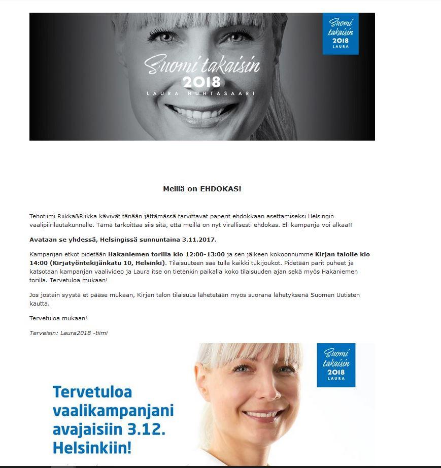 Lauran vaalikampanjan avaus 3.12. 2017 Helsingissä! a285140d01